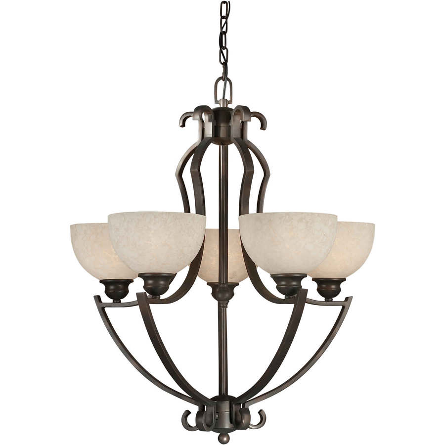 Shandy 26-in 5-Light Antique Bronze Tinted Glass Candle Chandelier