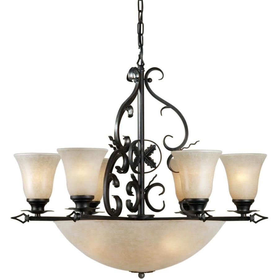 Shandy 29.5-in 10-Light Bordeaux Tinted Glass Candle Chandelier