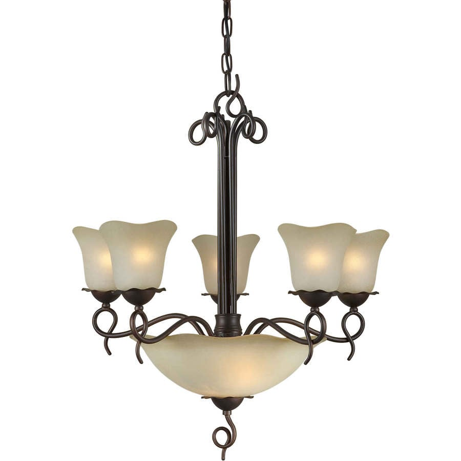 Shandy 23.5-in 7-Light Antique Bronze Tinted Glass Candle Chandelier