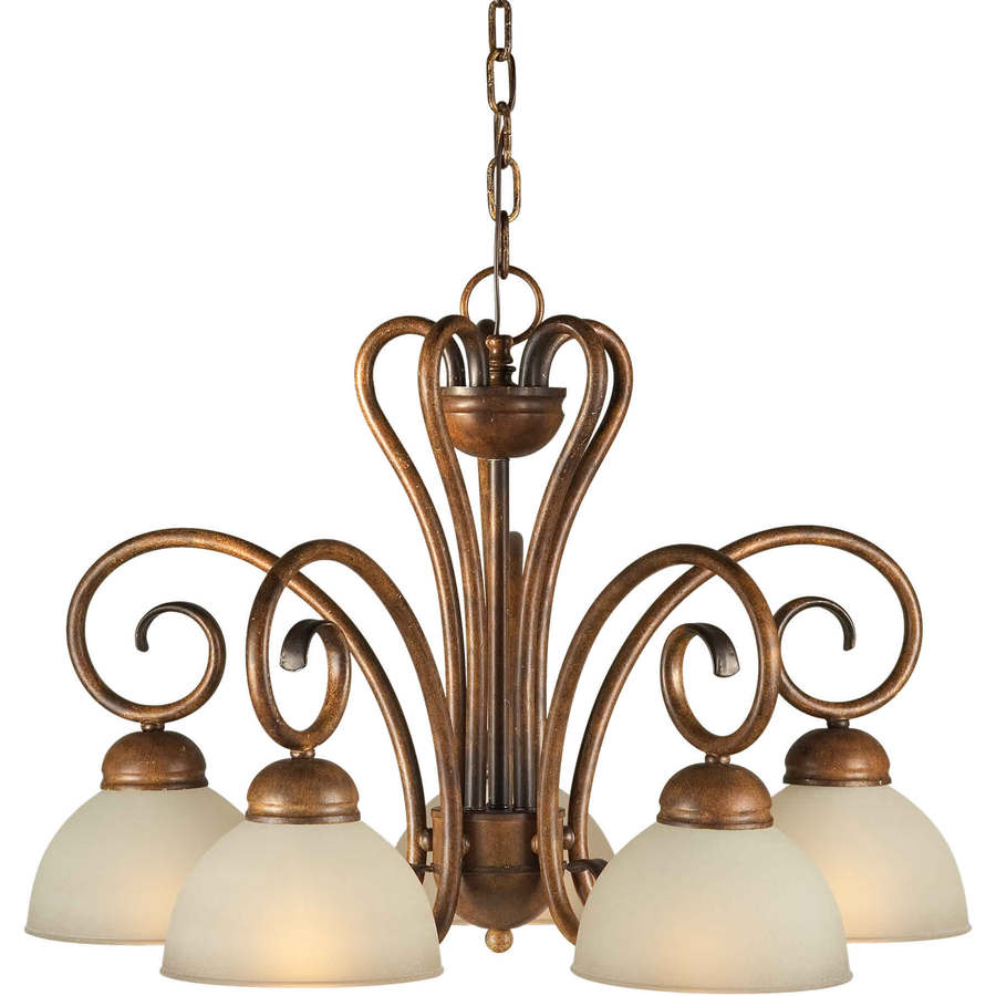 Shandy 23-in 5-Light Rustic Sienna Tinted Glass Candle Chandelier