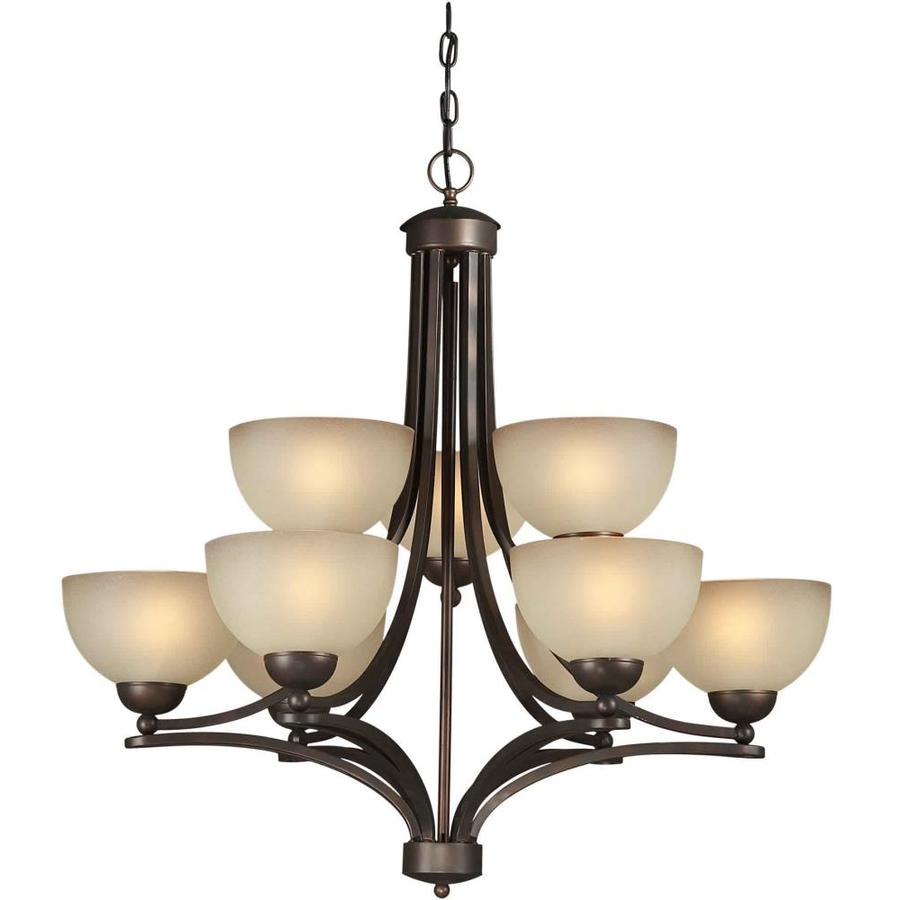Shandy 32-in 9-Light Antique Bronze Tinted Glass Tiered Chandelier