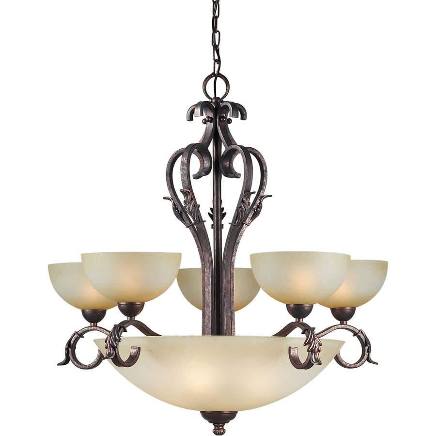 Shandy 32-in 9-Light Black Cherry Tinted Glass Candle Chandelier