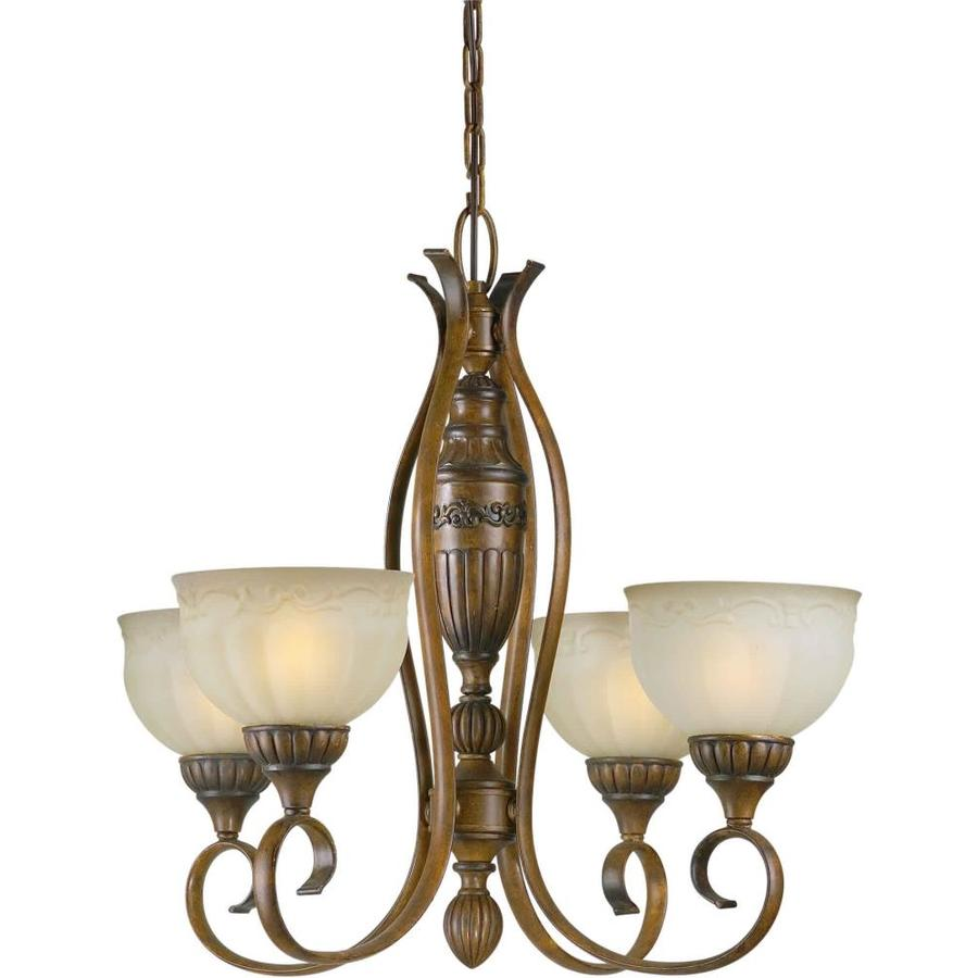 Shandy 26-in 4-Light Rustic Sienna Tinted Glass Candle Chandelier