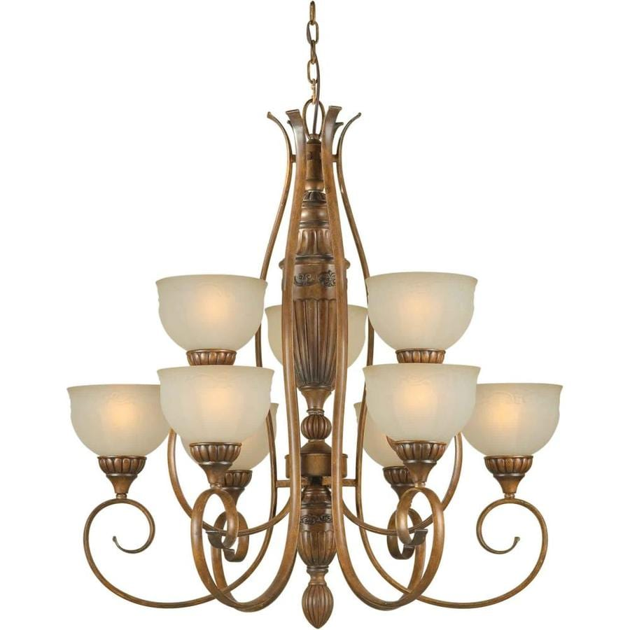 Shandy 32-in 9-Light Rustic Sienna Tinted Glass Tiered Chandelier