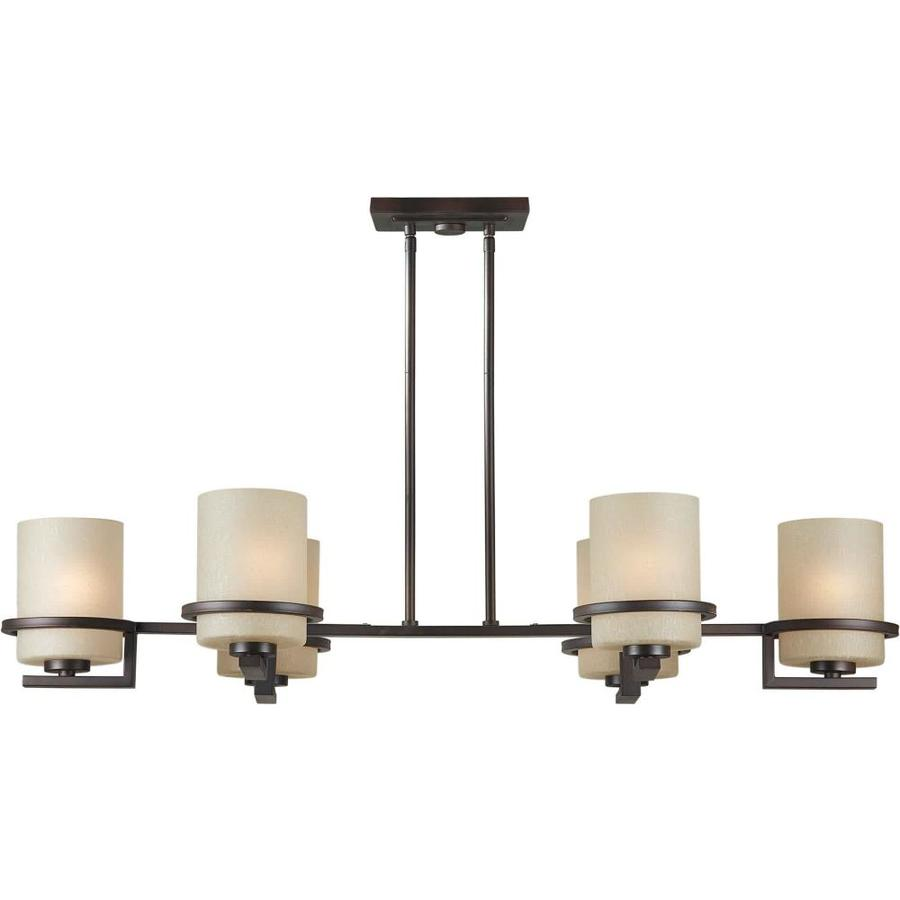 Barringer 41-in 6-Light Antique Bronze Tinted Glass Candle Chandelier
