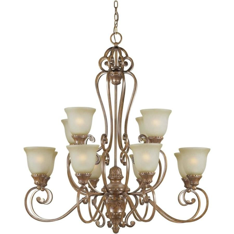 Shandy 38-in 12-Light Rustic Sienna Tinted Glass Tiered Chandelier
