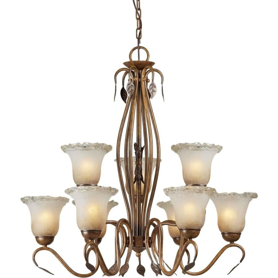 Shandy 30-in 9-Light Rustic Sienna Tinted Glass Candle Chandelier