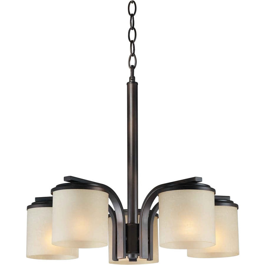 Massto 17.5-in 5-Light Antique Bronze Tinted Glass Candle Chandelier