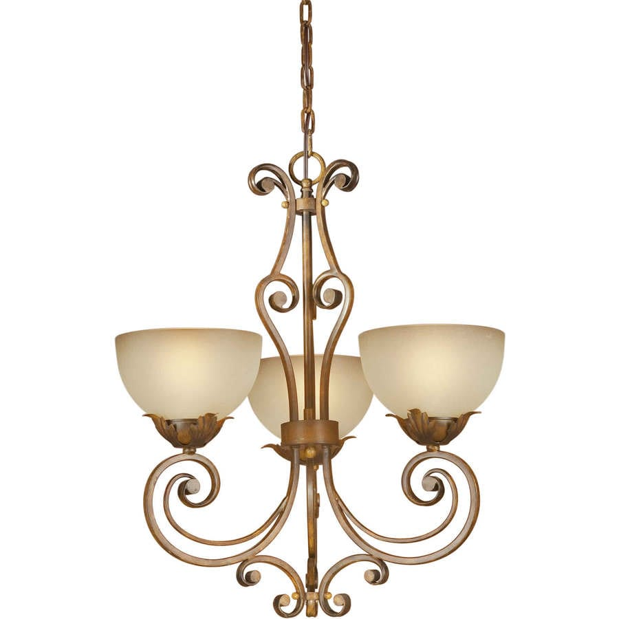 Shandy 19-in 3-Light Rustic Sienna Tinted Glass Candle Chandelier