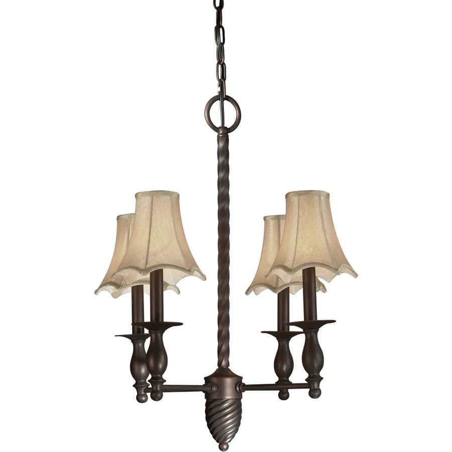 Shandy 20-in 4-Light Antique Bronze Tinted Glass Candle Chandelier