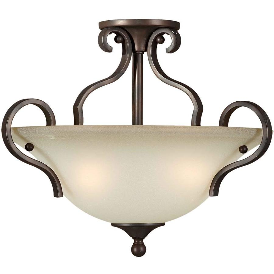 17-in W Antique Bronze Tea-Stained Glass Semi-Flush Mount Light