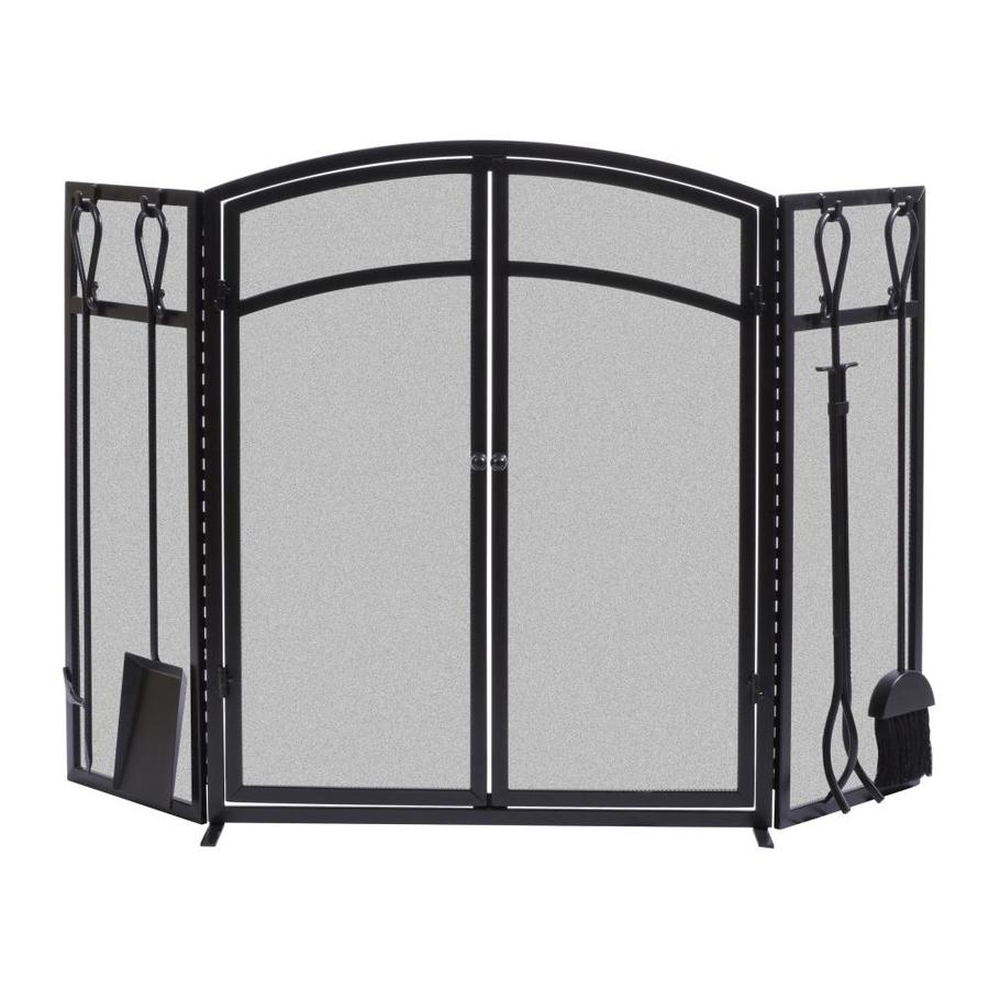 allen + roth 50.3-in Eggshell Black Powder Coated Steel 3-Panel Arched Twin Fireplace Screen