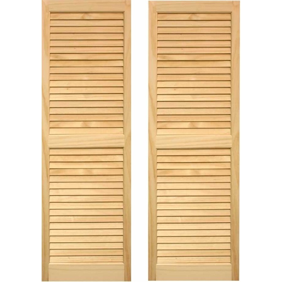 Pinecroft 2-Pack Unfinished Louvered Wood Exterior Shutters (Common: 15-in x 47-in; Actual: 15-in x 47-in)