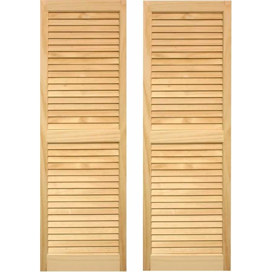 Shop pinecroft 2 pack unfinished louvered wood exterior shutters common 15 in x 80 in actual for Exterior louvered window shutters