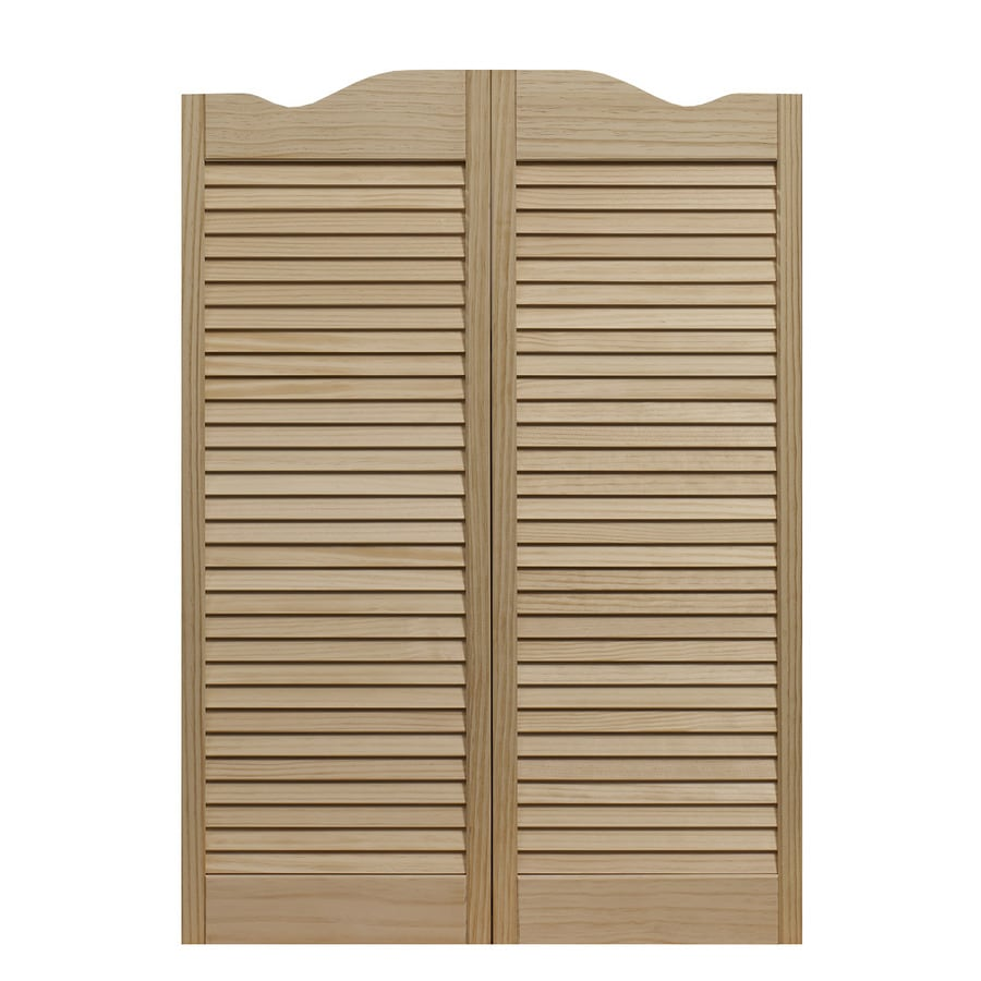 Shop pinecroft louvered cafe solid core full louver pine for Solid wood doors lowes