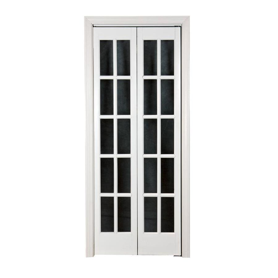 Pinecroft Classic French White Solid Core 10-Lite Pine Bi-Fold Closet Interior Door (Common: 32-in x 80-in; Actual: 31.5-in x 78.625-in)