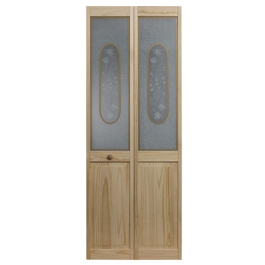 Pinecroft Solid Core 1-Lite Patterned Glass Pine Bi-Fold Closet Interior Door (Common: 30-in x 80-in; Actual: 29.5-in x 78.625-in)