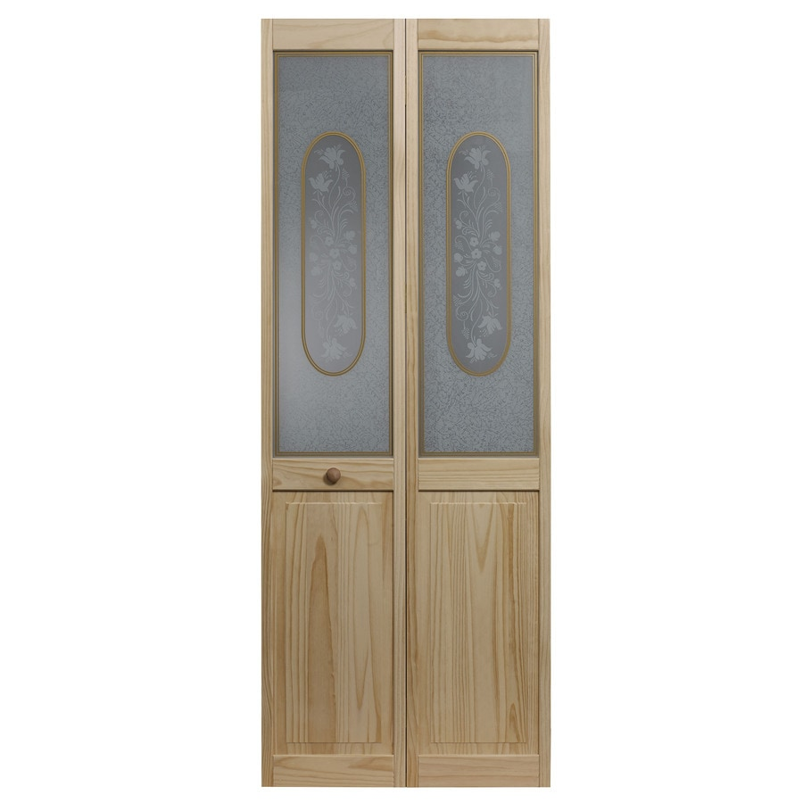 Shop pinecroft solid core 1 lite patterned glass pine bi for 1 lite interior door