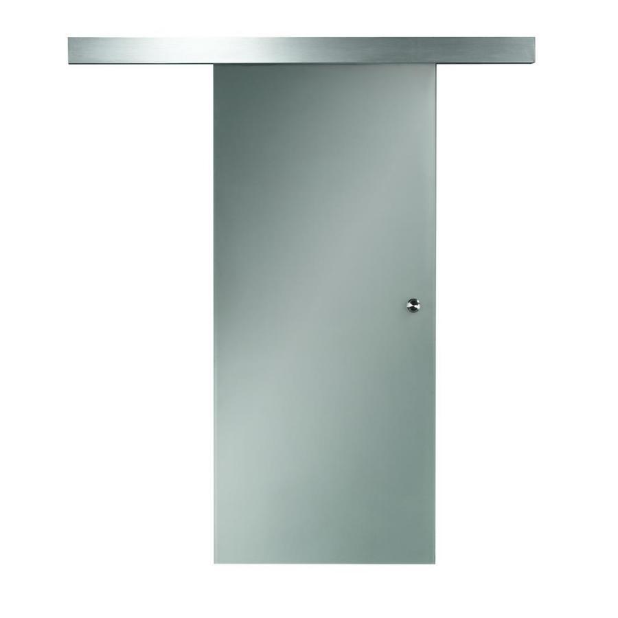 Pinecroft Opaque Full Lite Frosted Glass Barn Interior Door (Common: 24-in x 80-in; Actual: 26-in x 81-in)
