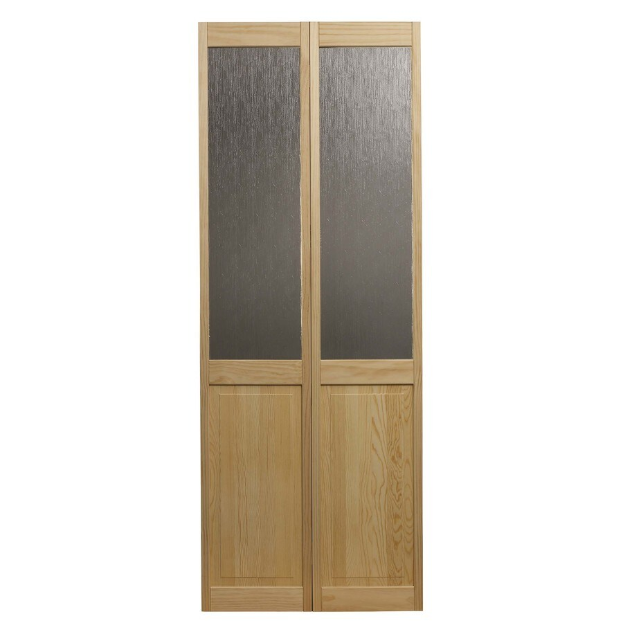 Shop pinecroft rain solid core 1 lite patterned glass pine for 1 lite interior door