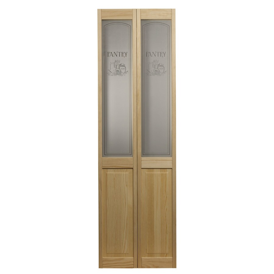 Shop Pinecroft Solid Core 1 Lite Pantry Pine Bi Fold Closet Interior Door Common 24 In X 80 In