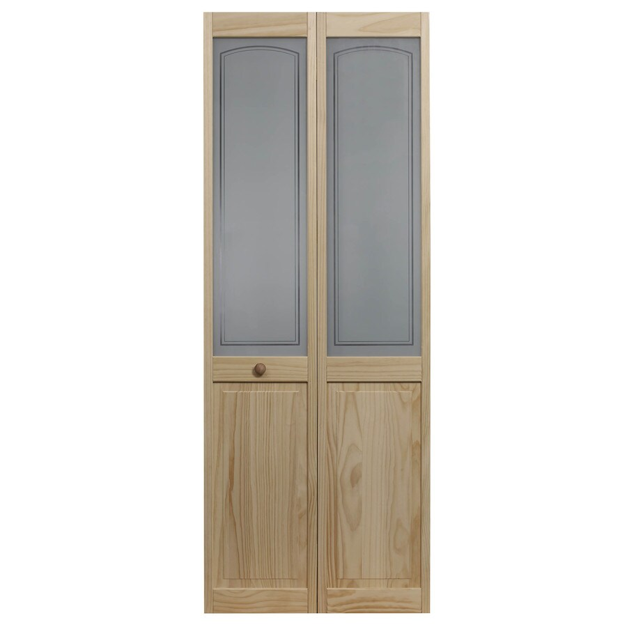 Pinecroft Mezzo Solid Core 1-Lite Frosted Glass Pine Bi-Fold Closet Interior Door (Common: 36-in x 80-in; Actual: 35.5-in x 78.625-in)