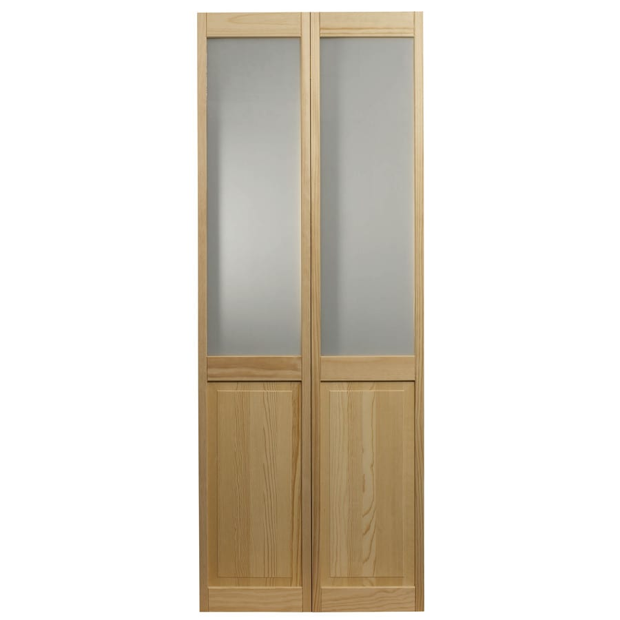 Shop pinecroft solid core 1 lite frosted glass pine bi for 16 x 80 closet door
