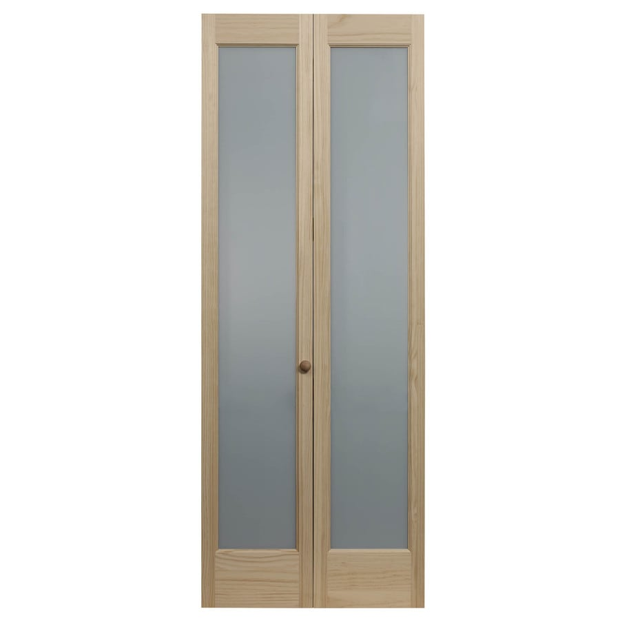 Pinecroft Full Frosted Solid Core 1-Lite Frosted Glass Pine Bi-Fold Closet Interior Door (Common: 32-in x 80-in; Actual: 31.5-in x 78.625-in)