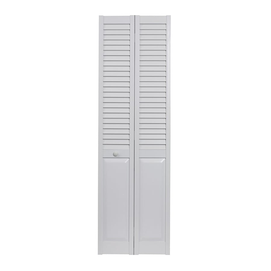 Pinecroft Seabrooke White Hollow Core Louver/Panel Bi-Fold Closet Interior Door (Common: 32-in x 80-in; Actual: 31.5-in x 78.625-in)
