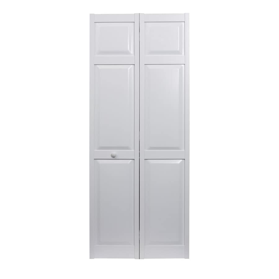 shop pinecroft seabrooke white hollow core 6 panel bi fold closet interior door common 24 in x. Black Bedroom Furniture Sets. Home Design Ideas