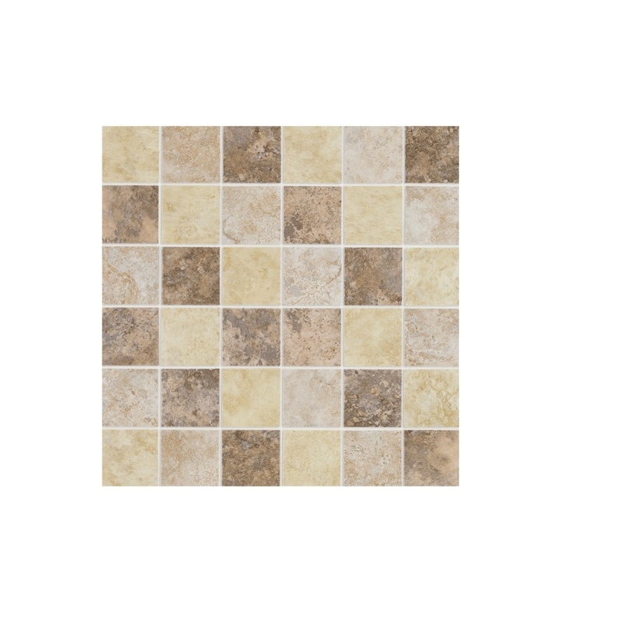 Shop style selections capri mixed glazed porcelain mosaic thru body porcelain wall tile common - Lowes floor tiles porcelain ...