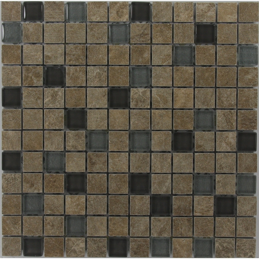 GBI Tile & Stone Inc. Mixed/Glazed Porcelain/Glass Uniform Squares Mosaic Porcelain Wall Tile (Common: 12-in x 12-in; Actual: 11.81-in x 11.81-in)