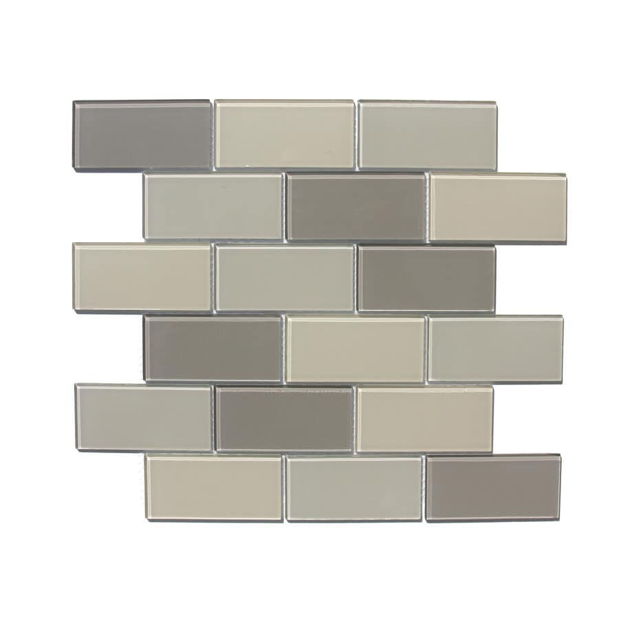 Style Selections 13-3/4-in x 12-in Multicolor Glass Wall Tile