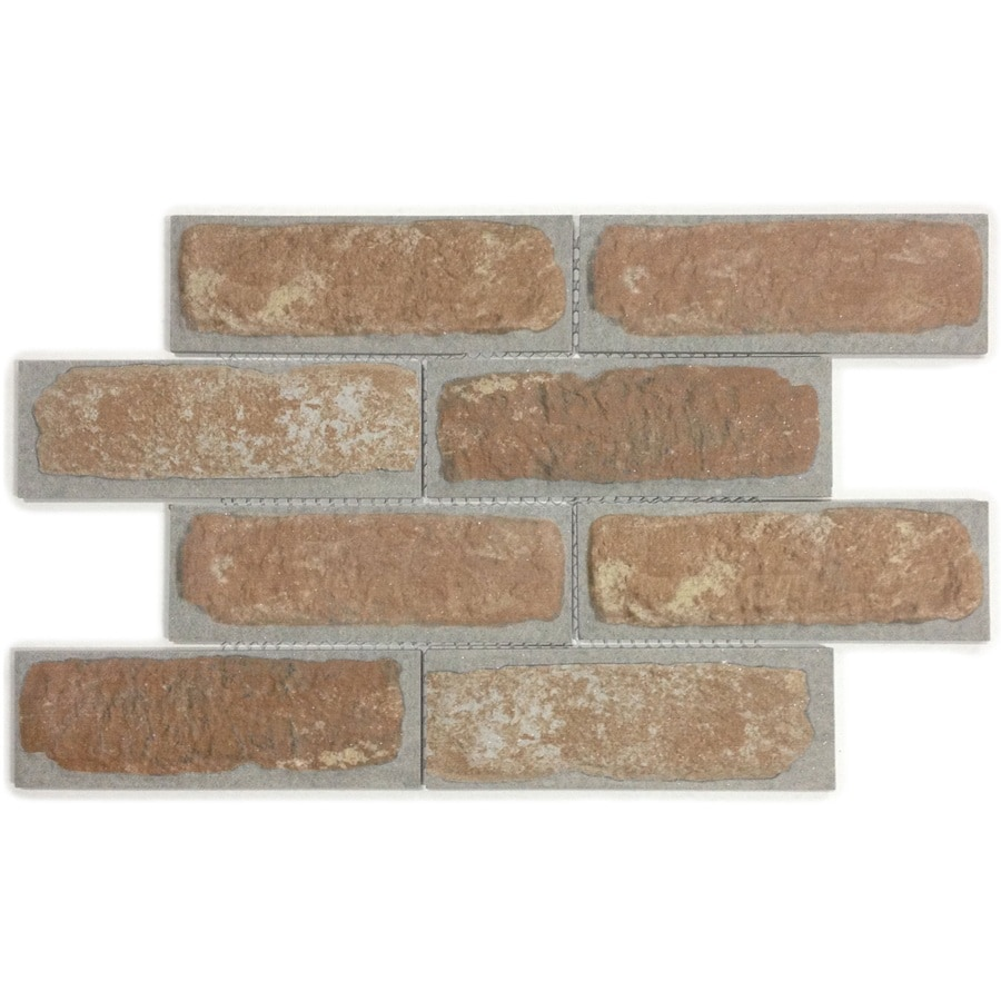 GBI Tile & Stone Inc. Brick Mosaic Orange Subway Mosaic Porcelain Wall Tile (Common: 12-in x 16-in; Actual: 11.61-in x 15.94-in)