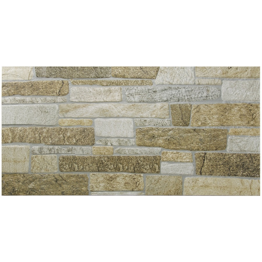 Shop gbi tile stone inc ceramic tan ceramic wall tile common 12 in x 24 in actual Ceramic stone tile