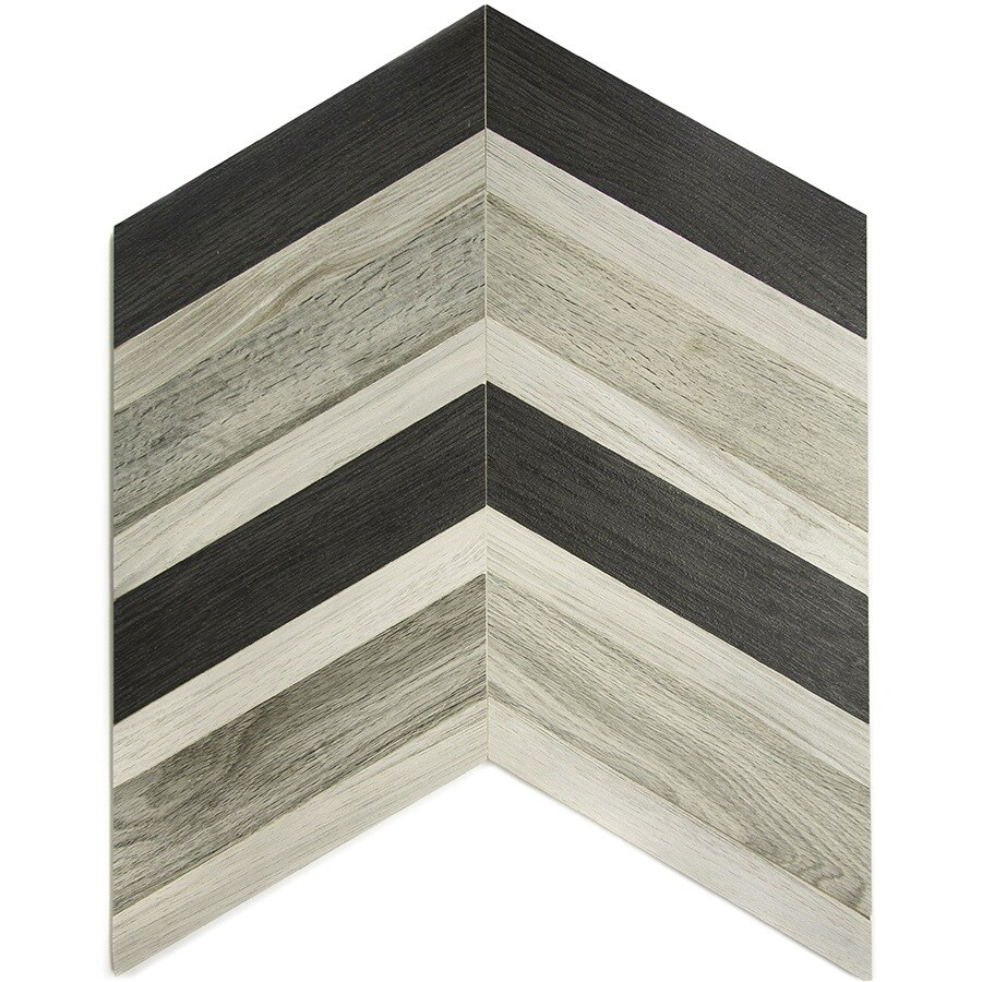 allen + roth Ceramic Graphite Linear Mosaic Ceramic Wall Tile (Common: 18-in x 14-in; Actual: 13.9-in x 14.35-in)