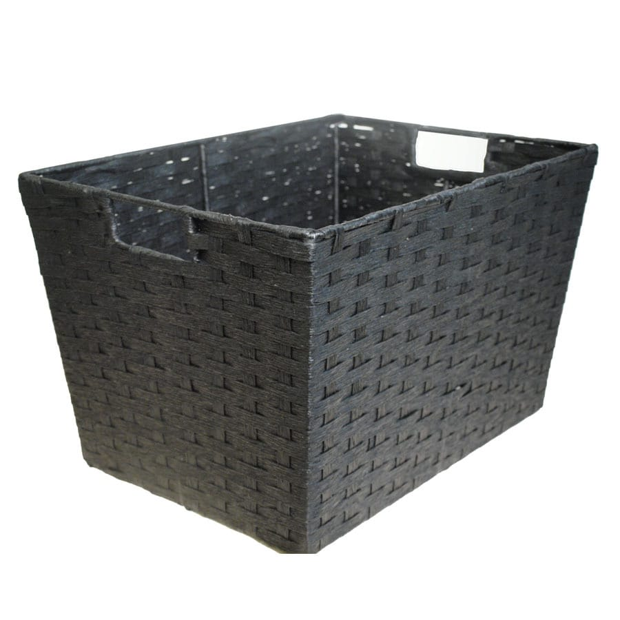 Style Selections Style Selection 12-in W x 10-in H x 16-in D Black Paper Basket