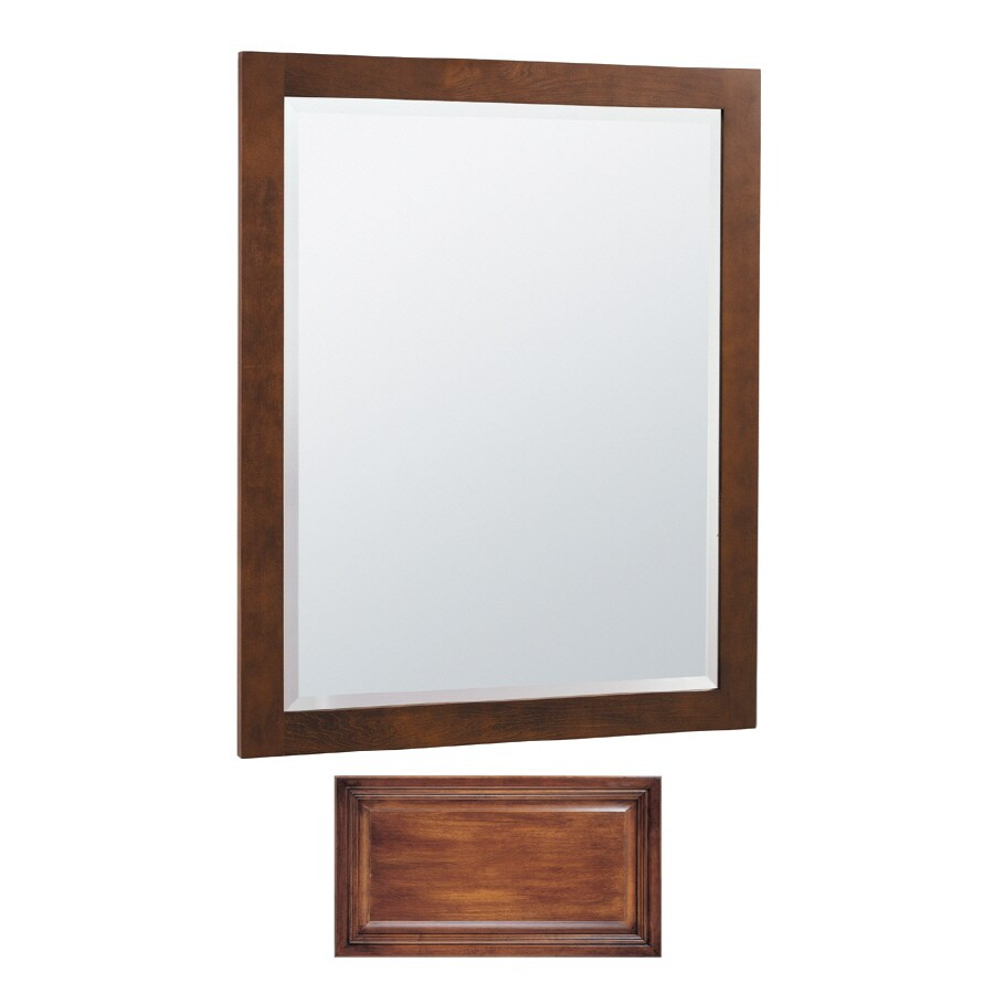 Insignia Insignia 32-in H x 26-in W Antique Cognac Rectangular Bathroom Mirror