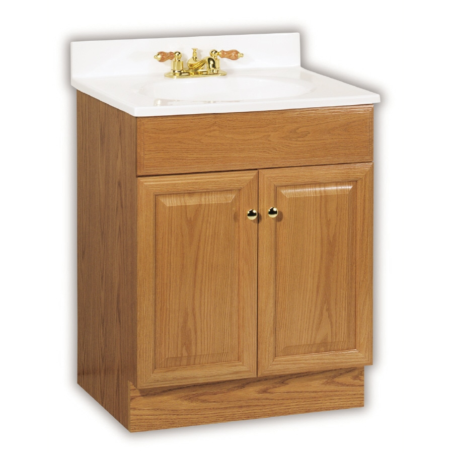Shop project source 25 in oak richmond single sink - Lowes single sink bathroom vanity ...