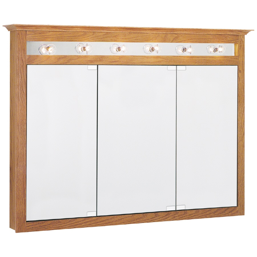 """Project Source 49-1/2"""" Wood Surface Mount Medicine Cabinet"""