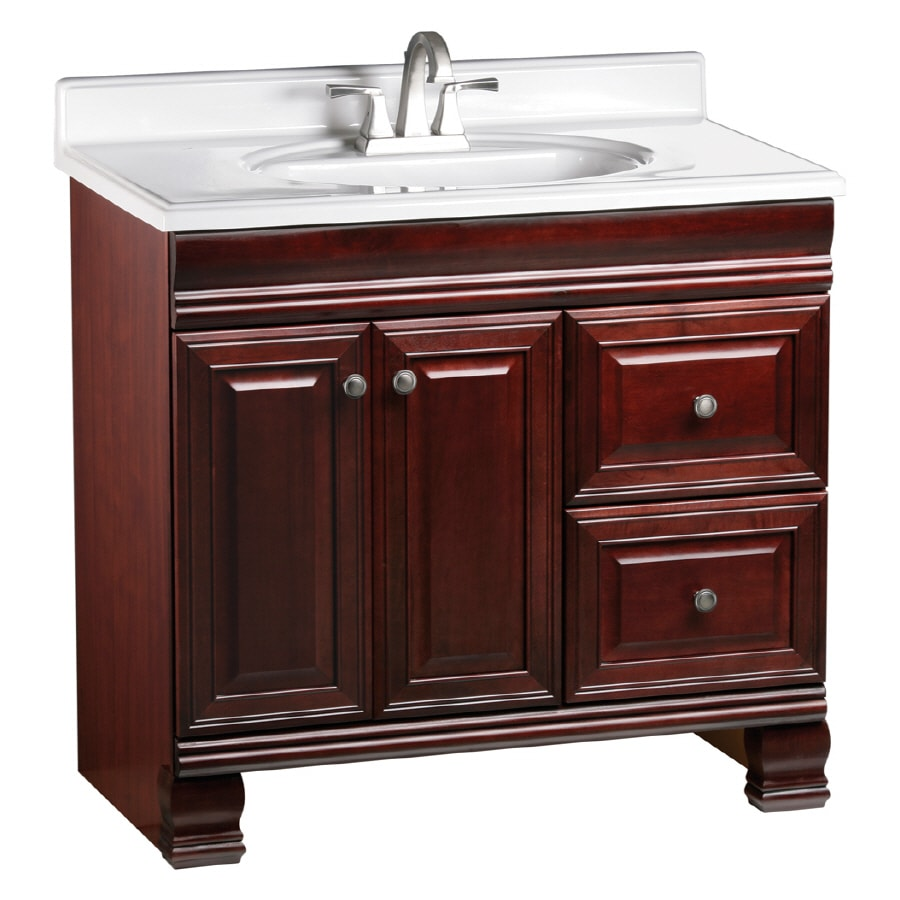 ESTATE by RSI Cambridge Burgundy Traditional Bathroom Vanity (Actual: 36-in x 21-in)
