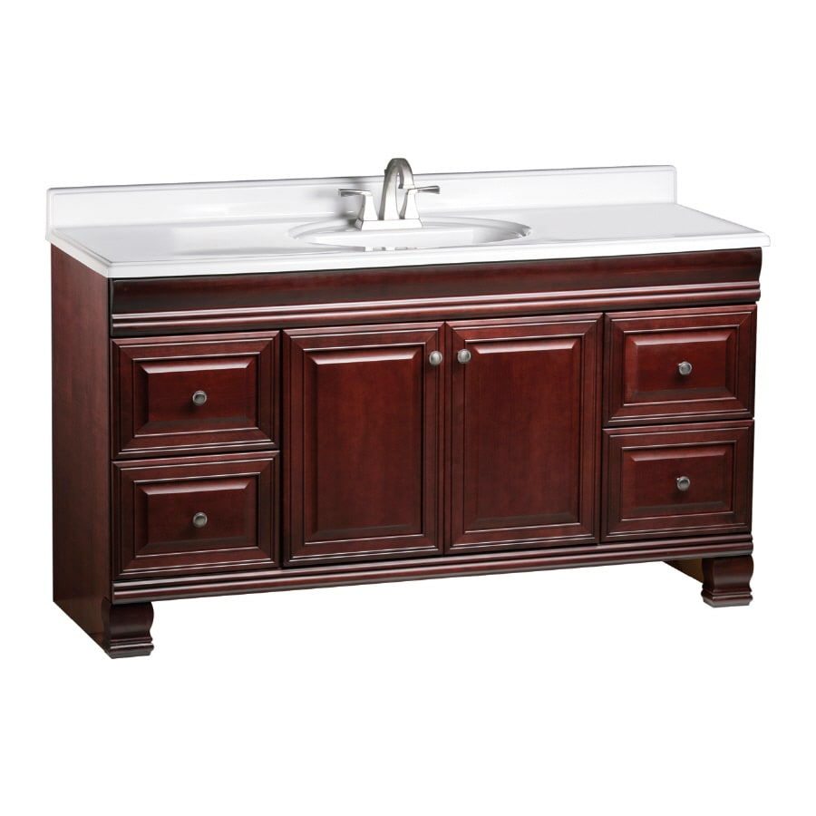 ESTATE by RSI Cambridge Burgundy Traditional Bathroom Vanity (Actual: 60-in x 21-in)