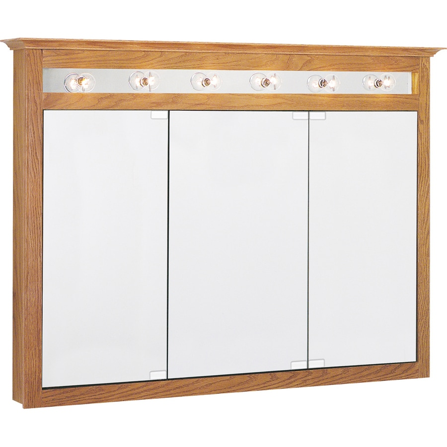 Project Source 49.5-in x 36-in Surface Medicine Cabinet with Lights