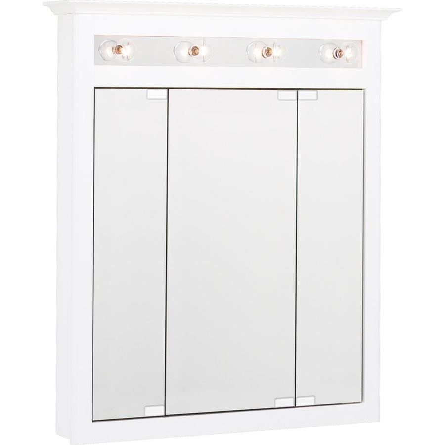 Project Source 31.75-in x 36-in Surface Medicine Cabinet with Lights