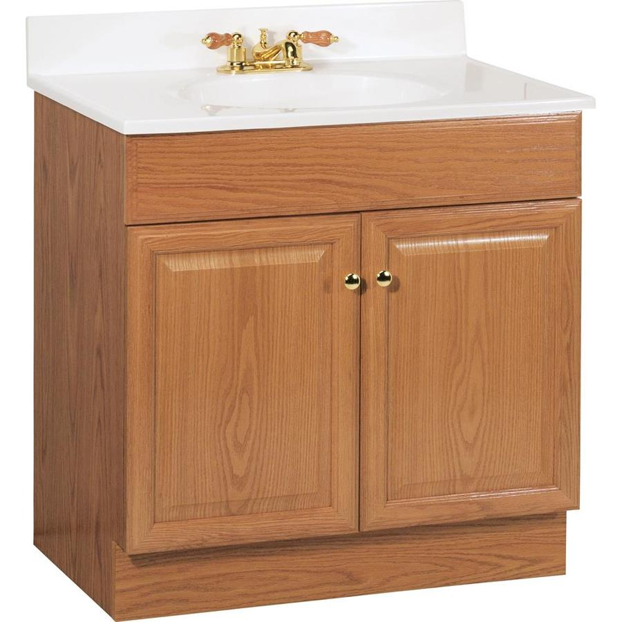 Project Source Golden Integral Single Sink Bathroom Vanity with Cultured Marble Top (Common: 31-in x 19-in; Actual: 30.5-in x 18.5-in)