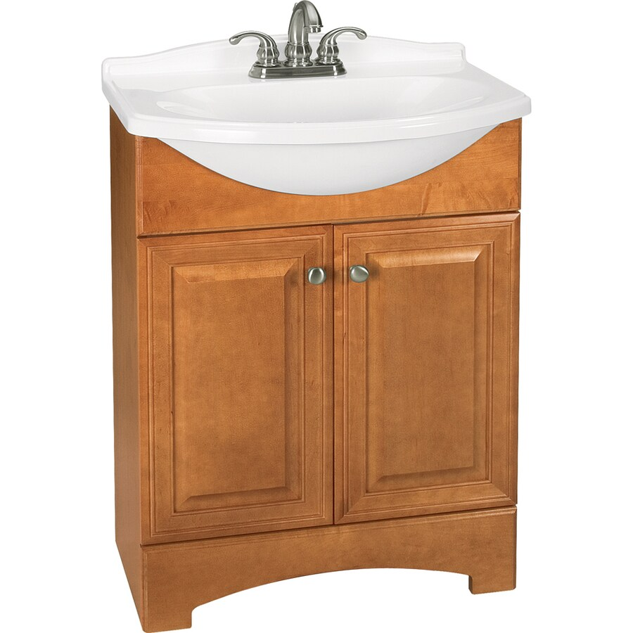 Style Selections Euro Style Honey Integral Single Sink Bathroom Vanity with Cultured Marble Top (Common: 25-in x 19-in; Actual: 25-in x 19-in)