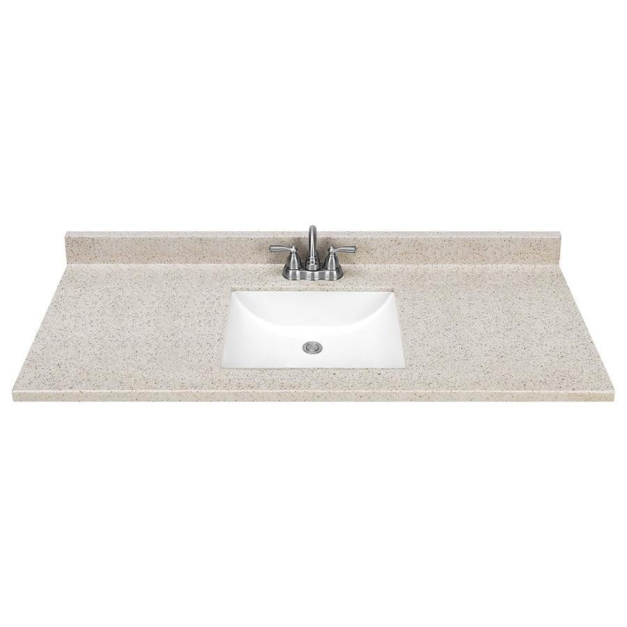 shop dune solid surface integral single sink bathroom vanity top common 49 in x 22 in actual. Black Bedroom Furniture Sets. Home Design Ideas