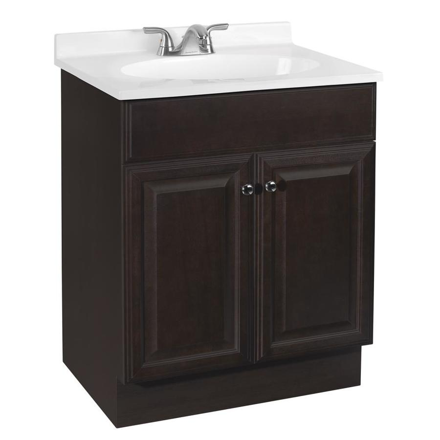 Shop project source java integral single sink bathroom vanity with cultured marble top common - Cultured marble bathroom vanity tops ...