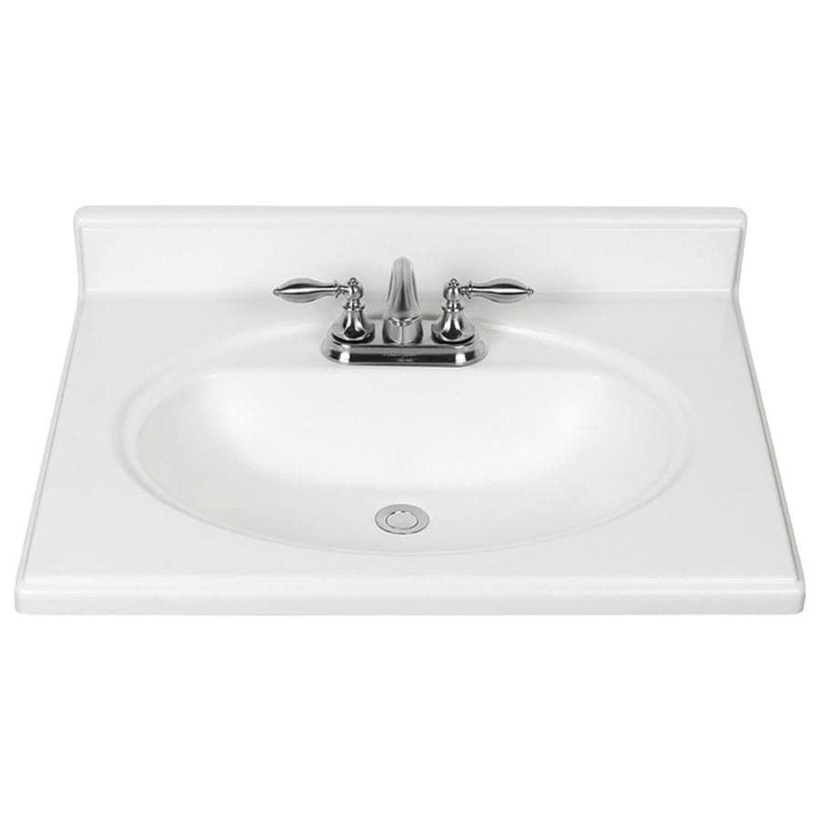 Vanity Tops With Integrated Sink : Shop white cultured marble integral single sink bathroom
