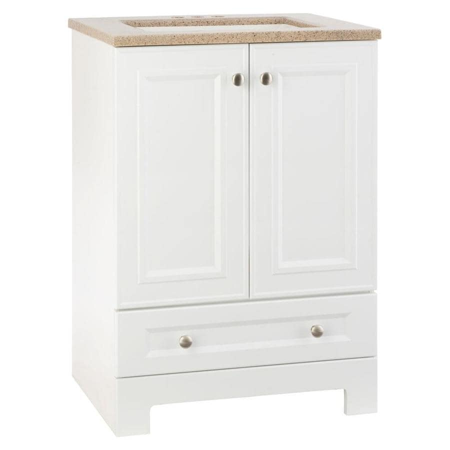 Style Selections Emberlin White Integral Single Sink Bathroom Vanity with Solid Surface Top (Common: 25-in x 19-in; Actual: 24.5-in x 18.75-in)